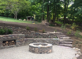 Stone Walls Fire Pits And Steps Millbrook Gardens Landscaping
